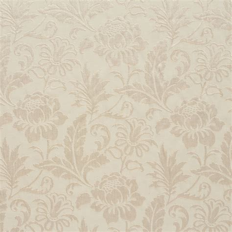 White Tone on Tone Floral and Leaf Damask Upholstery Fabric