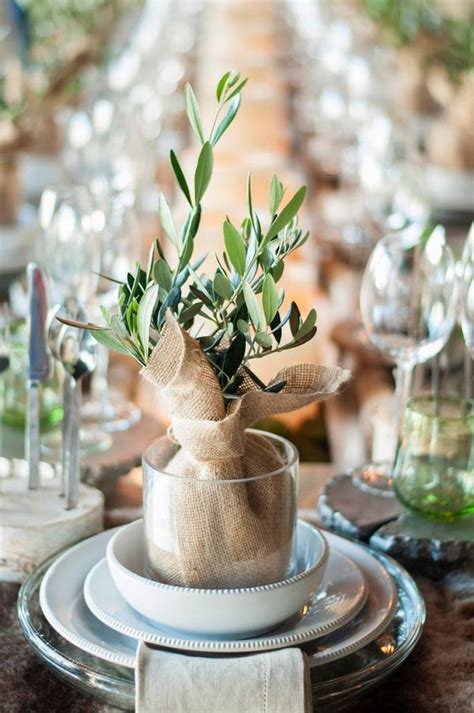 mini olive trees at each place setting   Deer Pearl Flowers