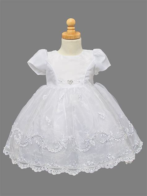 Girls Organza Christening Dress w/ Embroidered & Pearl