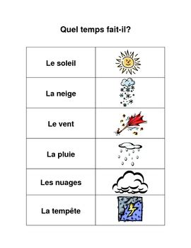French Weather Words by Kristen Hinnegan   Teachers Pay