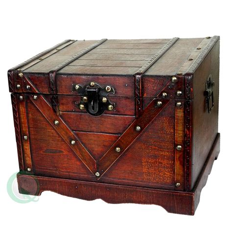 Wooden Treasure Box, Old Style Treasure Chest by