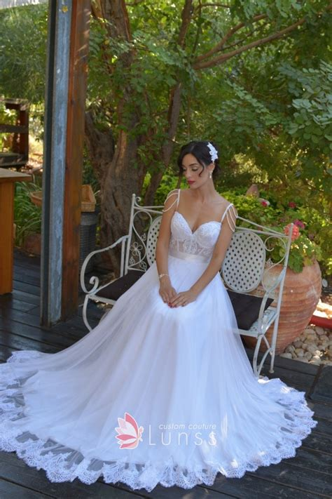 White Sheer Lace Corset A-line Tulle Bridal Dress - Lunss