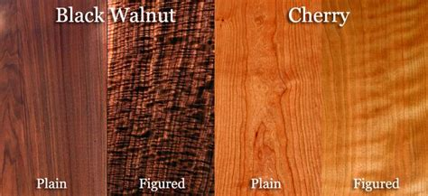 Examples of plain vs figured in cherry and walnut