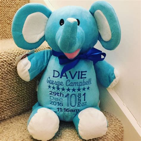 Personalised Soft Toy Animal Cubbie Elephant Blue Limited