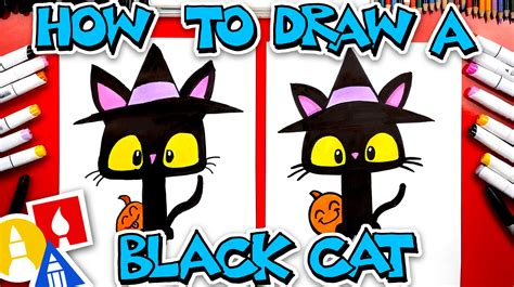 How To Draw A Black Cat With A Witch Hat - Art For Kids Hub