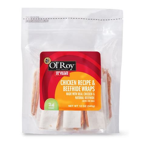 Ol' Roy Chicken Recipe & Beefhide Wraps Chews for Dogs, 12