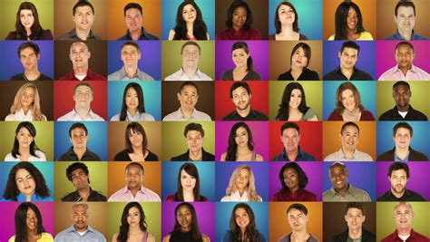 Grid of Portraits - Diverse Stock Footage Video (100%