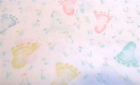 Vintage Baby Footprint Fabric in Pastel Pink Yellow Blue