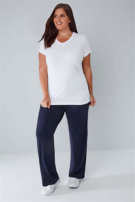 Navy Wide Leg Pull On Stretch Jersey Yoga Trousers Plus