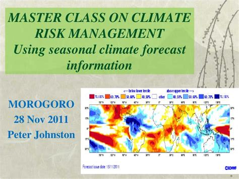PPT - MASTER CLASS ON CLIMATE RISK MANAGEMENT Using